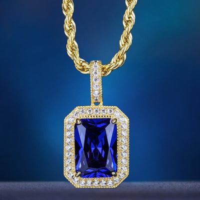 14K Gold Iced Blue Sapphire Gemstone Pendant - jewelrychamps