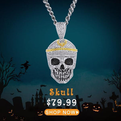 White Gold Iced Skull With Military Cap Pendant - jewelrychamps
