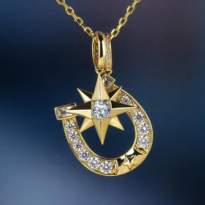 14K Gold Iced Six-Point Star And Horseshoe Pendant - jewelrychamps