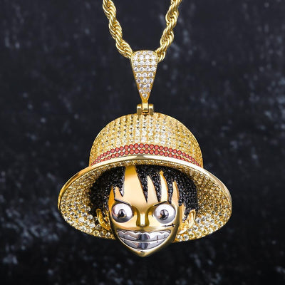 14K Gold Iced Monkey D. Luffy Pendant - jewelrychamps