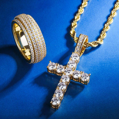 14K Gold Cross Pendant and Rotating Ring Set - jewelrychamps