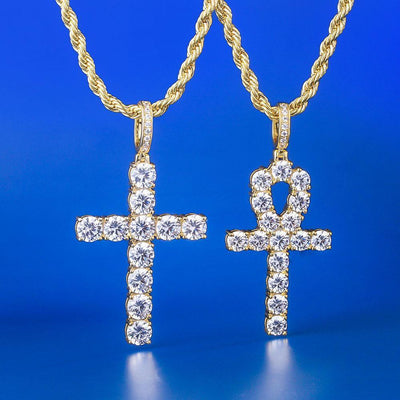 14K Gold Iced Classic Cross Pendant and Ankh Pendant Set - jewelrychamps