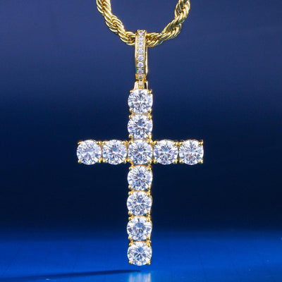14K Gold Iced Cross Pendant - jewelrychamps