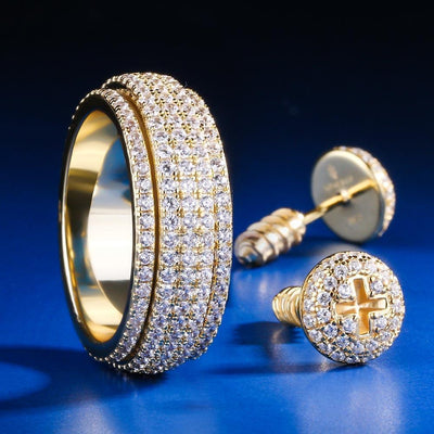 14K Gold Iced Rotating Ring and Nail Earrings Set - jewelrychamps