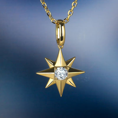 14K Gold Iced Six-Point Star Pendant - jewelrychamps