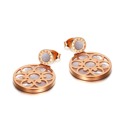 Rose Gold Titanium Steel Female Blossom Earrings - jewelrychamps