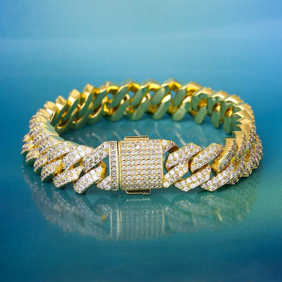 15mm Iced Diamond Cut Cuban Link Bracelet in 14K Gold - jewelrychamps