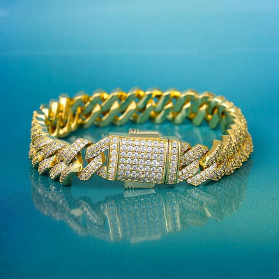 10mm Iced Cuban Link Bracelet in 14K Gold - jewelrychamps