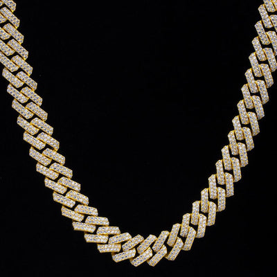 15mm Iced Prong Link Cuban Choker Chain in 14K Gold