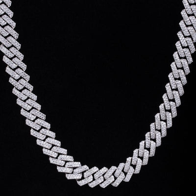 15mm Iced Prong Link Cuban Choker Chain in White Gold