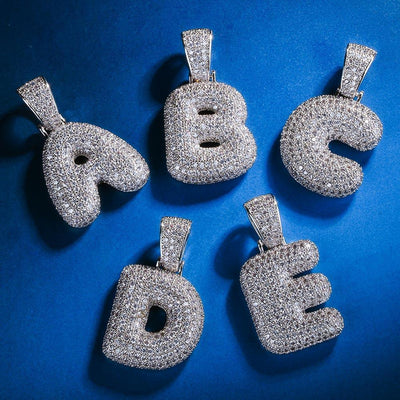White Gold Iced Bubble Letters Pendant - jewelrychamps