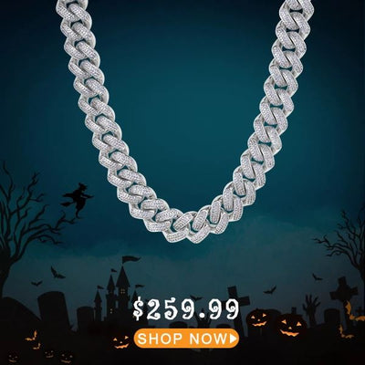 18mm Iced Diamond Cut Cuban Link Chain in White Gold