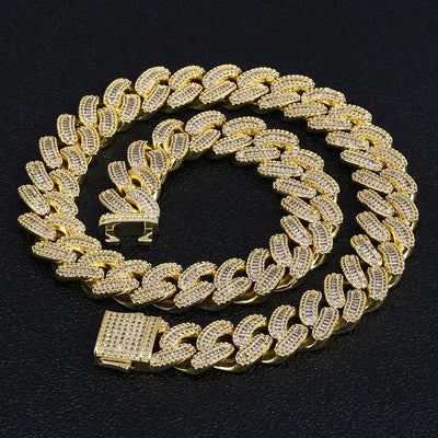 16mm Iced Baguette Cut Cuban Choker Chain in 14K Gold