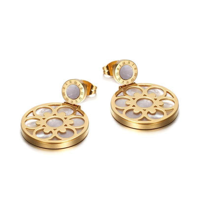 18K Gold Titanium Steel Female Blossom Earrings - jewelrychamps