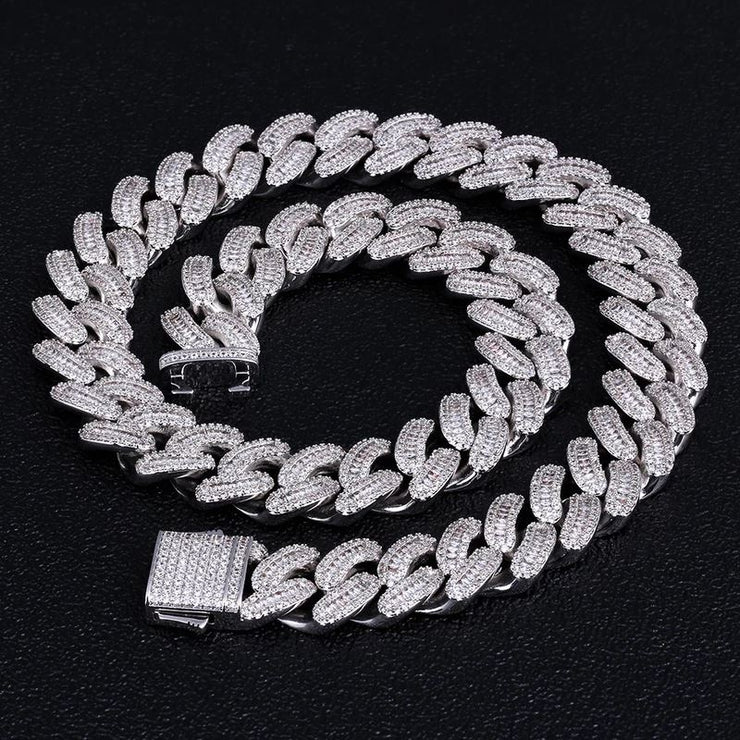 16mm Iced Baguette Cut Cuban Choker Chain in White Gold - jewelrychamps