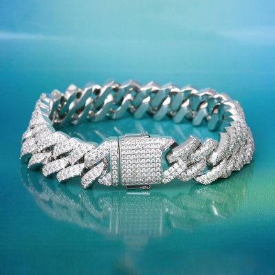 15mm Iced Diamond-Cut Cuban Link Bracelet in White Gold - jewelrychamps