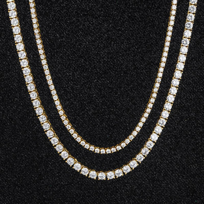 Tennis Chains Set in 14K Gold (5mm 24''+3mm 22'')