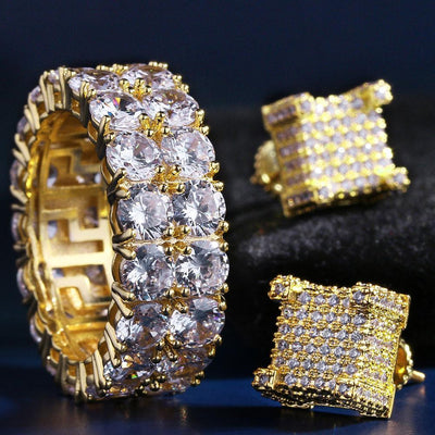 14K Gold Iced Two-Row CZ Ring and Earrings Set - jewelrychamps