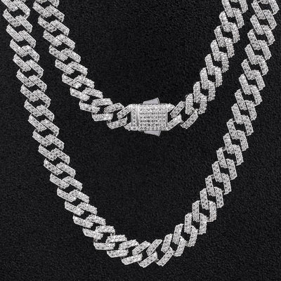 12mm Iced Prong Link Cuban Choker Chain in White Gold