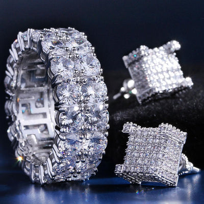 White Gold Iced Out Two-Row CZ Ring and 3D Earrings Set - jewelrychamps