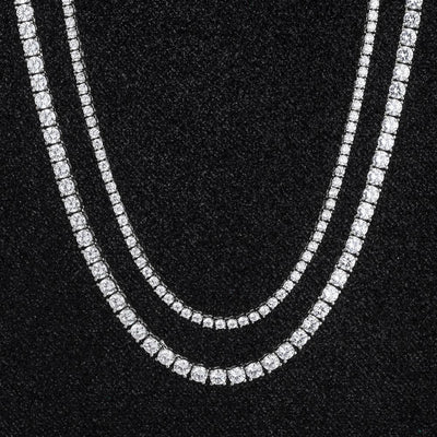 White Gold Tennis Chains Set (5MM 24''+3MM 22'') - jewelrychamps