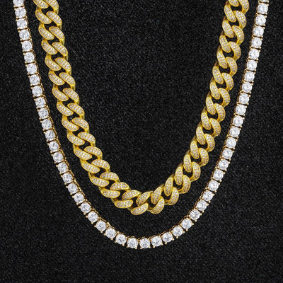 Miami Cuban Choker and Tennis Chain Set in 14K Gold - jewelrychamps