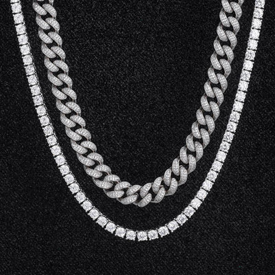 Miami Cuban Choker and Tennis Chain Set in White Gold