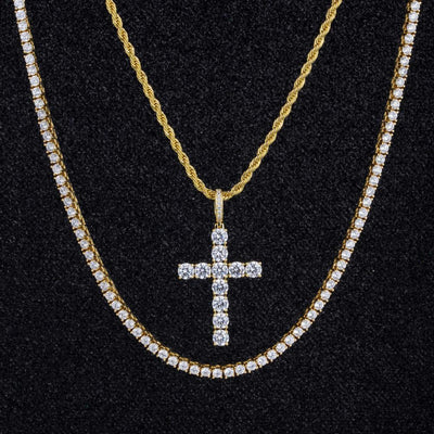 Cross Pendant And Two Chains Set in 14K Gold