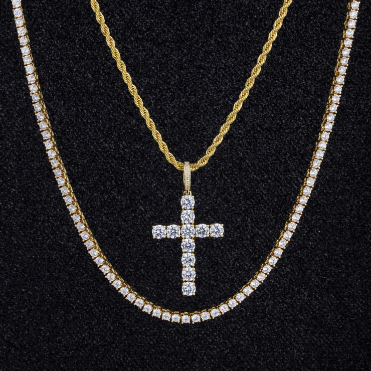 Cross Pendant And Two Chains Set in 14K Gold - jewelrychamps