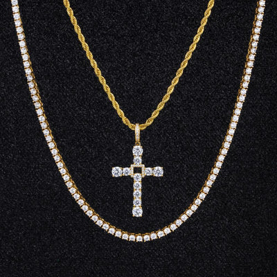 Swing Cross Pendant And Two Chains Set in 14K Gold - jewelrychamps