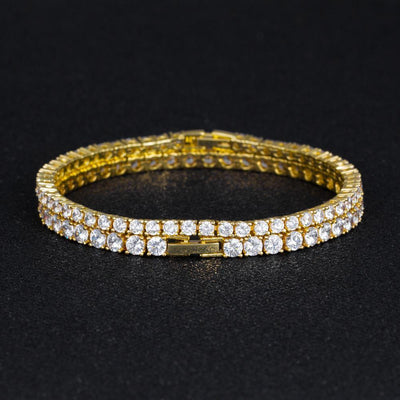 Tennis Bracelets Set in 14K Gold (3mm+4mm) - jewelrychamps