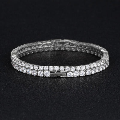 White Gold Tennis Bracelet Set (3mm+4mm) - jewelrychamps