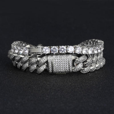 5mm Tennis Bracelet and 12mm Cuban Link Bracelet Set in White Gold - jewelrychamps