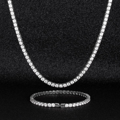 4mm Tennis Chain and Bracelet Set in White Gold