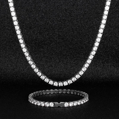 5mm White Gold Tennis Chain and Bracelet Set - jewelrychamps