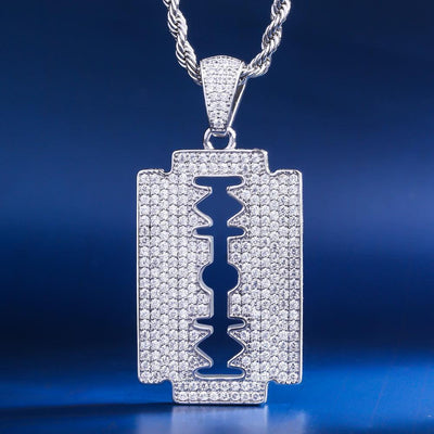White Gold Ice Double-Edged Razor Blade Pendant - jewelrychamps