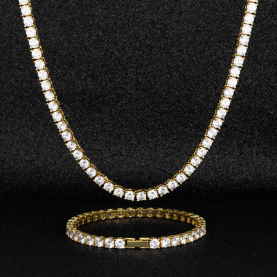 5mm 14K Gold Tennis Chain and Bracelet Set - jewelrychamps