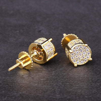 Micro Pave Gold Iced Out CZ Stud Round Earrings - jewelrychamps