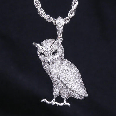 White Gold Iced Out Owl Pendant - jewelrychamps
