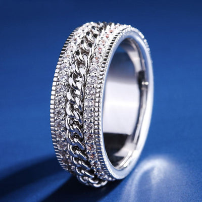White Gold Iced Cuban Link Rotating Ring - jewelrychamps