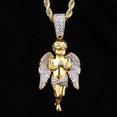 14K Gold Iced Guardian Angel Pendant - jewelrychamps