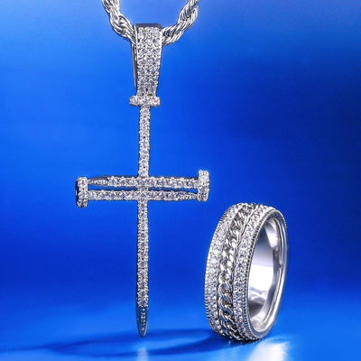 White Gold Nail Cross and Cuban link Rotating Ring Set - jewelrychamps