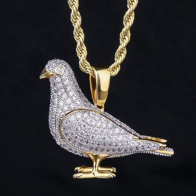 14K Gold Iced Pigeon Pendant - jewelrychamps