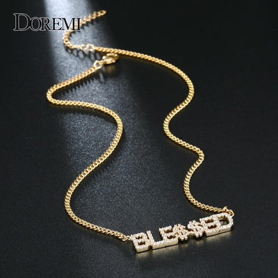 Small Iced Letter Custom Name Pendant - jewelrychamps