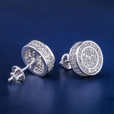 White Gold Iced Out Round Shape Earrings - jewelrychamps
