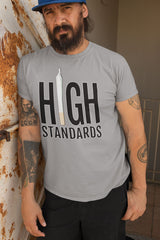 Bearded man wearing a High Standards Weed T-Shirt - Magic Leaf Tees