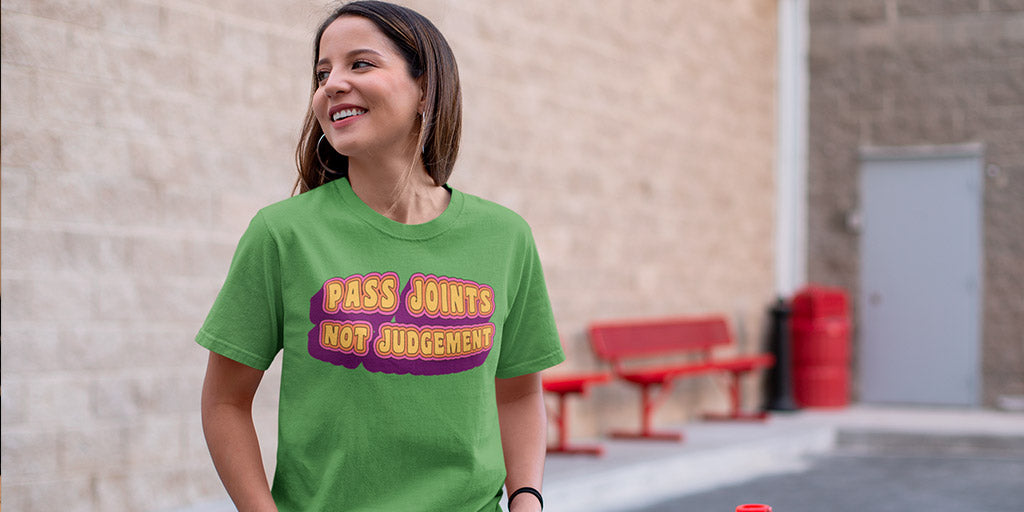 Pass Joints Not Judgement Funny Stoner T-Shirt - Magic Leaf Tees