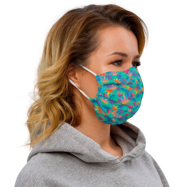 Multi-Color Cannabis Leaves Reusable 2 Layer Face Mask - Magic Leaf Tees