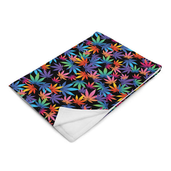 Multi Colored Pot Leaf Throw Blanket - Magic Leaf Tees