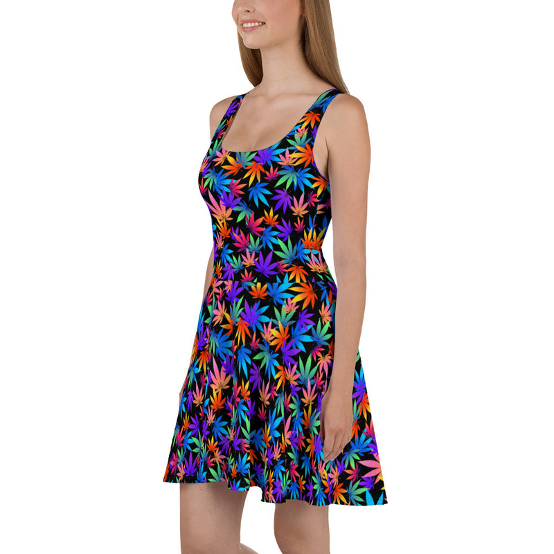 Midnight Black Multi Color Flame Point Cannabis Leaves Skater Dress